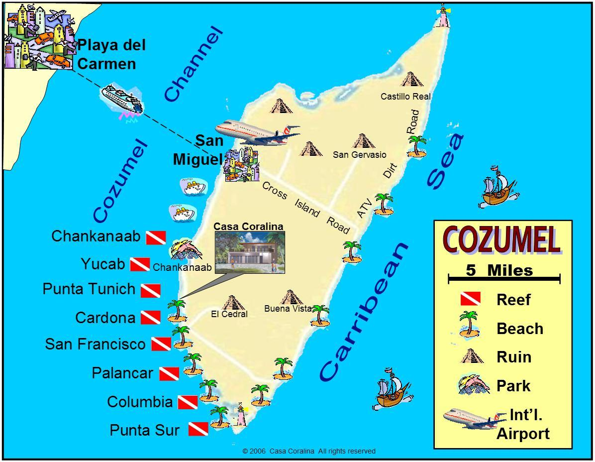 Cozumel Island Map and best dive reefs in the world locations